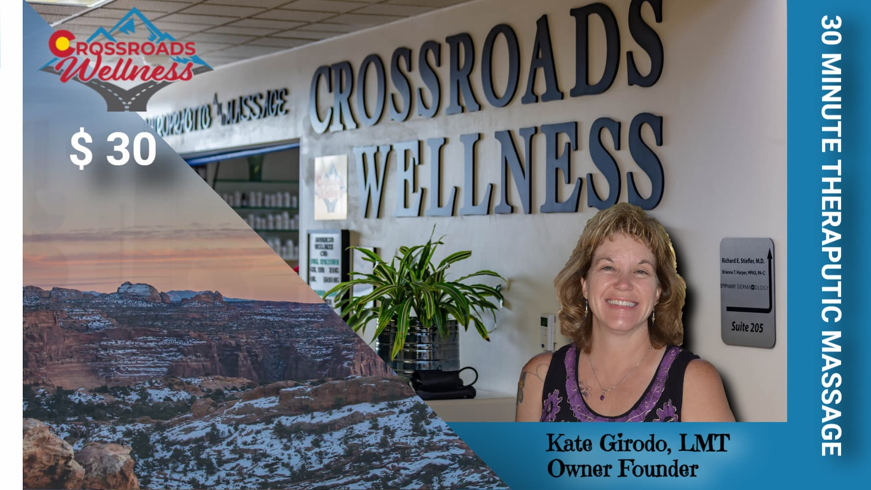 30 MINUTE THERAPUTIC MASSAGE with Kate Girodo, LMT